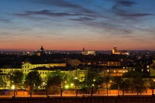 Widok na Kraków o zachodzie słońca