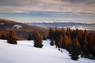 Tatry o zachodzie słońca z Rysianki